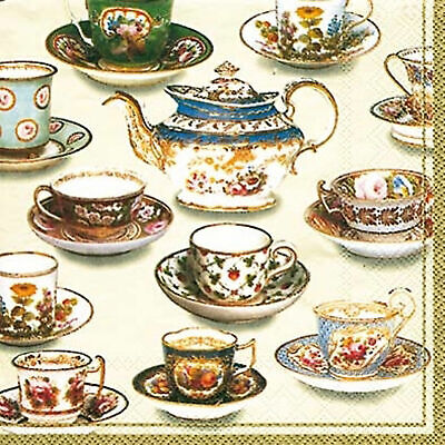 V & A Five o'clock Tea Cup Luxury paper napkins cocktail tea size new 20 pack