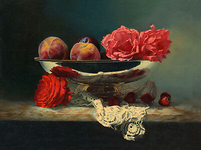 Oil painting still life fruits with peony flowers strawberry in silver plate