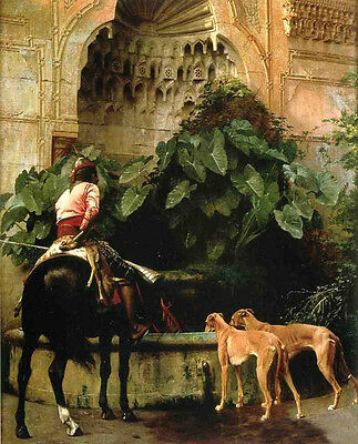 Fine Oil painting Jean-Leon Gerom - Home from the Hunt Horseman with dogs canvas