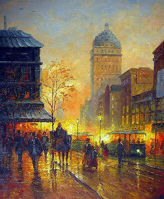 Nice Oil painting impressionism Paris Street Scene in sunset city & horseman 36""
