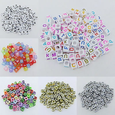 200 pcs 6mm Acrylic Mixed Alphabet Letter Square Cube Spacer Beads Big Hole Pick