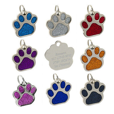 Giant 36mm ID Pet Tags Glitter Paw Design Dog Tags FREE ENGRAVING and FREE P&P