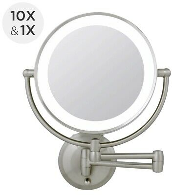 Zadro 1x 10x Next Gen Cordless Led Lighted Wall Mount Makeup Mirror