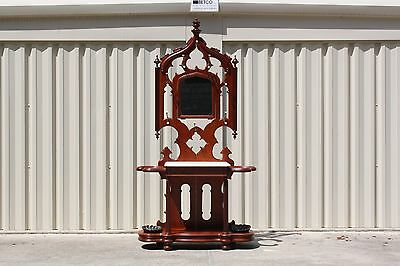 Fabulous Walnut Victorian Marble Top Gothic Hall Tree w Orig. Shell Drip Pans