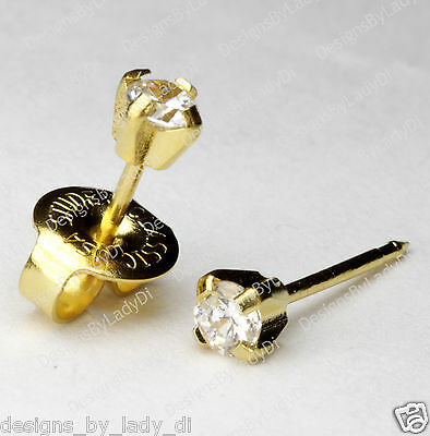 LONG POST 14kt Yellow Gold 3mm CZ Cubic Ear Piercing Earrings Studex System 75