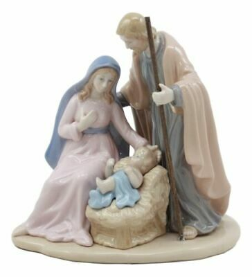 Fine Porcelain Holy Family Mary Joseph Embracing Baby Jesus Figurine Statue