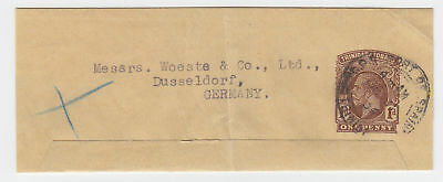 Trinidad 1934, 1d printed matter stationery wrapper used to Germany. #2335