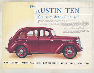 1939 Austin 10 Ten Saloon Brochure wu2271