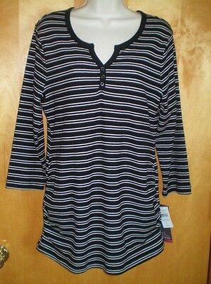 NWT NEW womens size L black white striped MOTHERHOOD maternity tunic shirt