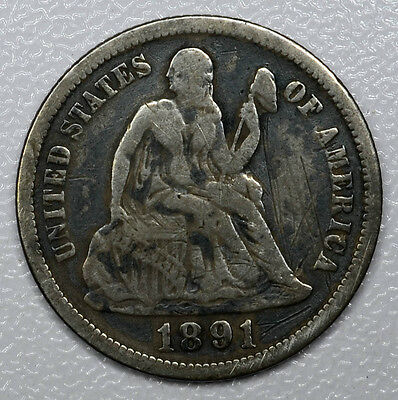 10c Cent 1891 VG/F, Seated Liberty Dime, dark toning, some red hues.