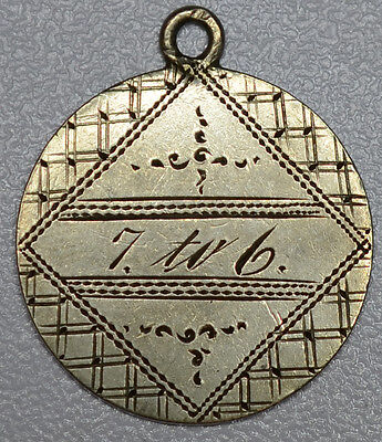 """Love Token Engraved """"JHK""""7 to 6"""" Fancy on Dime Sized Pendant, 10c, silver"""