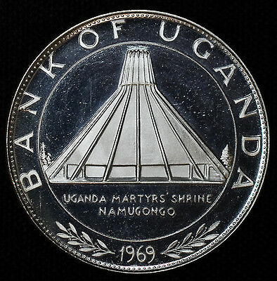 Uganda 10 Shillings 1969 Proof silver KM#10 10s Visit of Pope Paul VI.