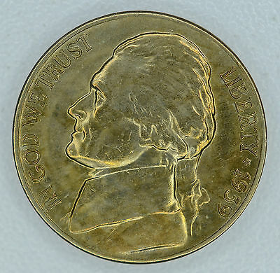 5c Five Cent 1939 D CH BU, Rev. of 1940, Jefferson Nickel Orange Gold Lustrous.