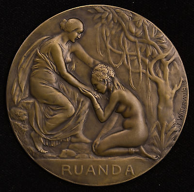 France French Rwanda 1918 Africa Colonial Rhodesia Bronze Medal Nude Godess.