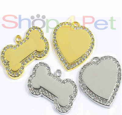 Pet ID Tag Premium Quality Diamante Heart or Bone Dog Tags with ENGRAVED Options