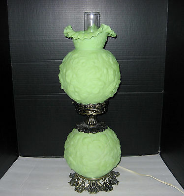 Amber Fenton Gone With The Wind Poppy Glass Lamp