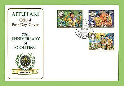 Aitutaki 1983 Scouts set on First Day Cover