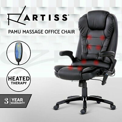 Artiss 8 Point Massage Office Chair Computer Desk Chairs  Heated Reclining Black