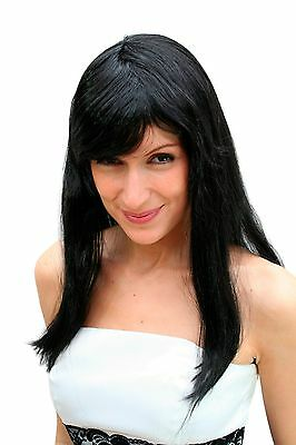 Wig, black, long, smooth (Party Wig, Wig) NEW