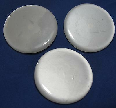 Vintage Large White Round Plastic with Small Metal Shank Lot of Three Buttons