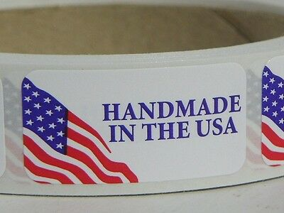 "HANDMADE IN THE USA MADE IN THE USA 3/4"" x 1 1/2""  Sticker Label  250/rl"