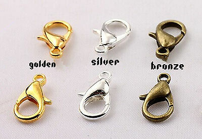 Wholesale Metal LOBSTER CLAW CLASPS Bronze Gold SILVER PLATED 10mm 12mm and 14mm