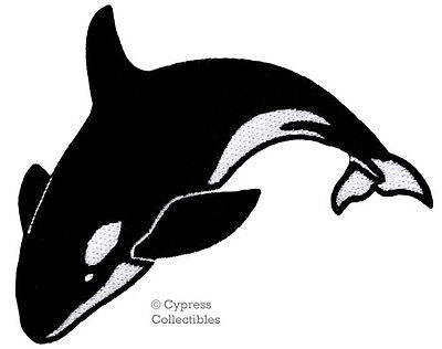 KILLER WHALE EMBROIDERED PATCH iron-on ORCINUS ORCA applique BLACKFISH OCEAN new
