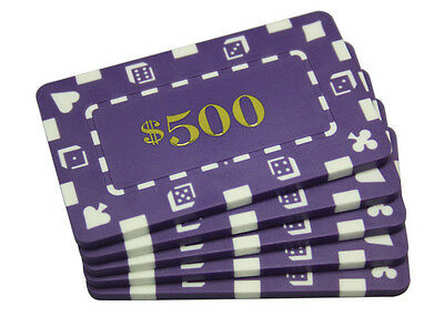 5 pcs Denominated Rectangular Poker Chips Plaques $500