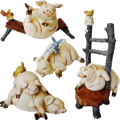 Hand Made Polyresin Pig Figurine Statue Ornament Gift Set Estee Collection Pigs