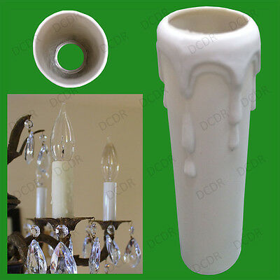 5x Drip Candle Wax Effect Chandelier Light Bulb Covers Tube Sleeve 100mm x 29mm