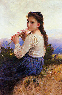 """Huge art Oil painting Bouguereau Young Girl Holding a Pink Gladiolus flowers 36"""""""