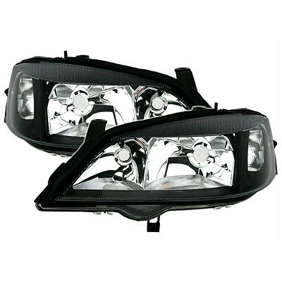 Vauxhall Astra G Mk4 1998-2004 Gsi Black Headlights Headlamps Pair Left & Right