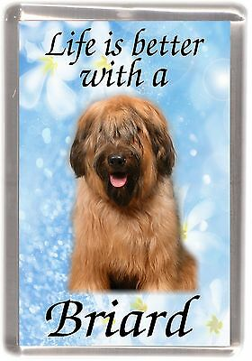 "Briard Dog Fridge Magnet ""Life is better with a Briard"" by Starprint"