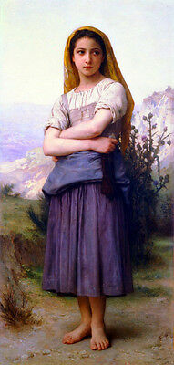 """Perfect Oil painting Bouguereau beautiful young girl portrait in landscape 36"""""""