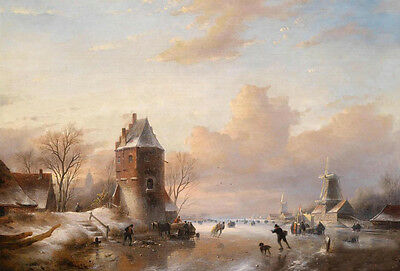 Stunning Oil painting nice Winter Landscape with Iceskaters and village canvas