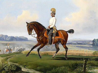 Stunning Oil painting male portraits horseman Knight cavalier rider in landscape