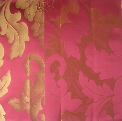 JAB Capriano Damask Red Gold Cotton Silk New Remnant
