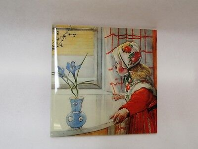 Swedish Ceramic Cork Backed Tile Trivet Hot Pad Carl Larsson Karin at the Window