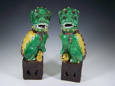 Chinese 1910's a pair glazed Foo-dog   g9143
