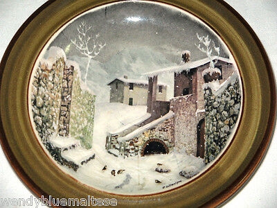 Schramberg Germany Wall Display Plate Homes Covered in Snow Several Birds 16.5cm