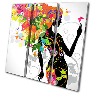 Fashion Floral Lady  TREBLE CANVAS WALL ART Picture Print VA
