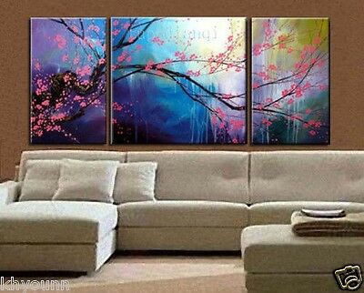 (no Framed)3pcs Handmade Modern Art Abstract Oil Painting On Canvas