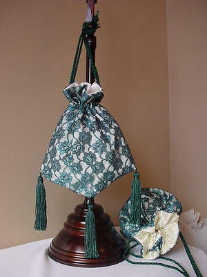 Victorian Ladies Civil War Wedding Ivory Satin Green Lace Reticule Purse Sass