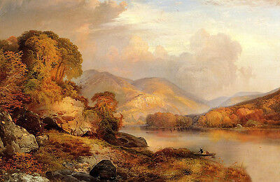 Art Oil painting Thomas Moran - Autumn Landscape with canoe by river at sunset