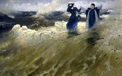 Oil painting Repin - Young couple by the river feeling the freedom with waves