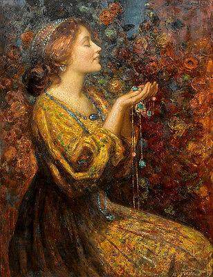 Huge art Oil painting Thomas Edwin Mostyn portrait young woman with Jewels