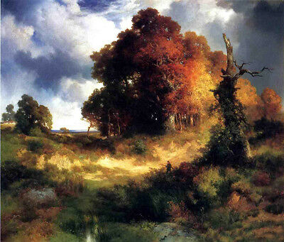 Art no framed Oil painting Thomas Moran - Autumn landscape with  yellow trees
