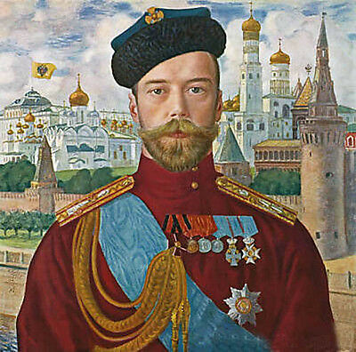 Dream-art Oil painting male portrait Tsar Nicholas in cityscape hand painted art