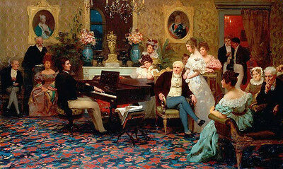 Huge Oil painting portraits young pianist with his Piano Concert with listeners