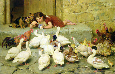Oil painting Briton Riviere young girl feeding her pets cock hen chick duck dogs